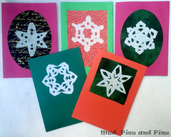 Fabric snowflake cards | Mud, Pies and Pins