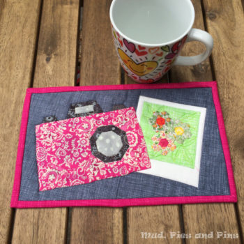 Snap Happy mug rug by Mud, Pies and Pins