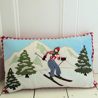 Alpine Skier Pillow Cover, pattern from Bustle and Sew