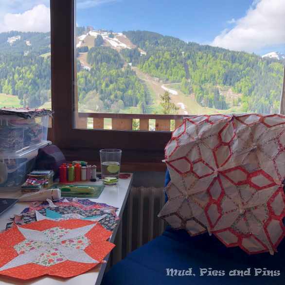 My sewing table view at Peaks 13| Mud, Pies and Pins