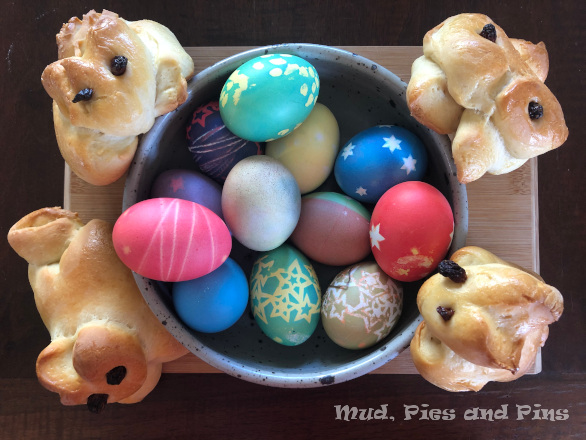 Dyed easter eggs and Züpfe bunnies | Mud, Pies and Pins