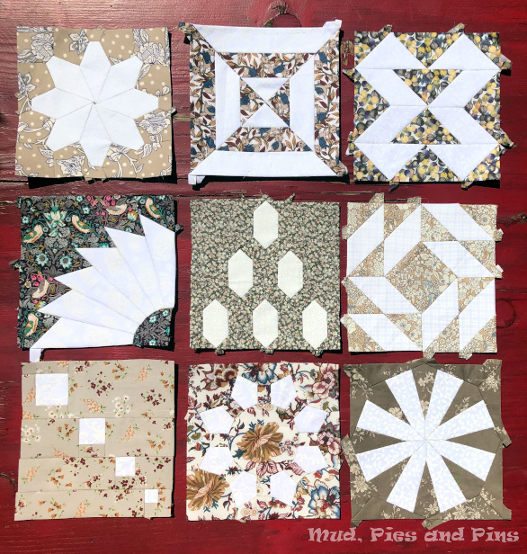 The Countodwn Quilt brown blocks | Mud, Pies and Pins
